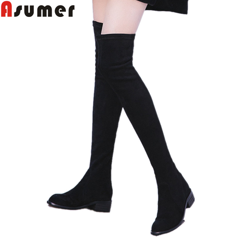 ASUMER 2018 fashion autumn winter boots women round toe zip suede leather boots med heels over the knee boots black size 34-40ASUMER 2018 fashion autumn winter boots women round toe zip suede leather boots med heels over the knee boots black size 34-40