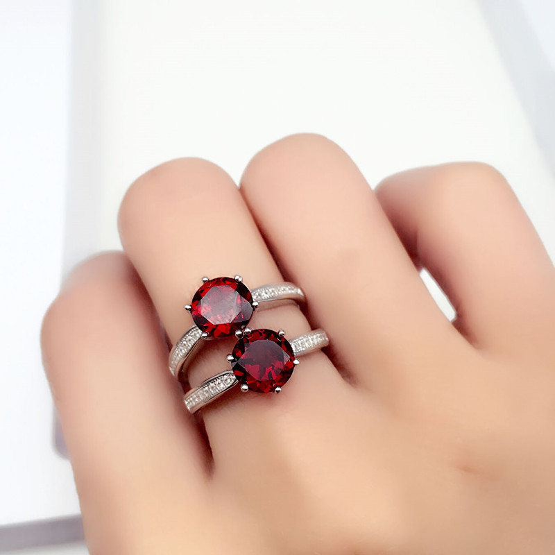 Jewelrypalace 925 sterling zilver rood granaat 6mm * 6mm verjaardag - Fijne sieraden