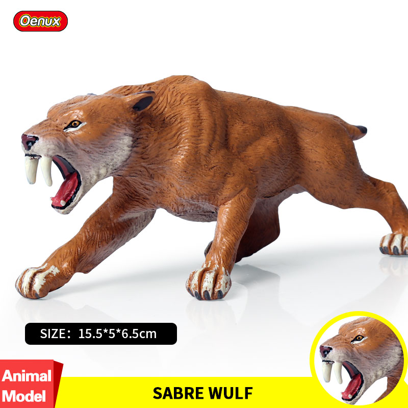 Oenux African Wild Saber-toothed Tiger Simulation Ainmals Classic Savage Cat Tiger Action