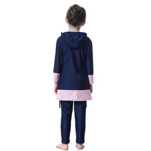 Image 2 - Hijab Islamic Swimsuit for Kids Swimwear Childrens Modest Swim Wear Long Sleeve Plus Size Girls Burkini 2 Piece Swimming Suit