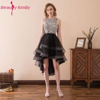 Beauty Emily Sexy Black Asymmetrical Cocktail Party Dresses Prom Dresses 2017 O Neck Knee Lengt Sleeveless