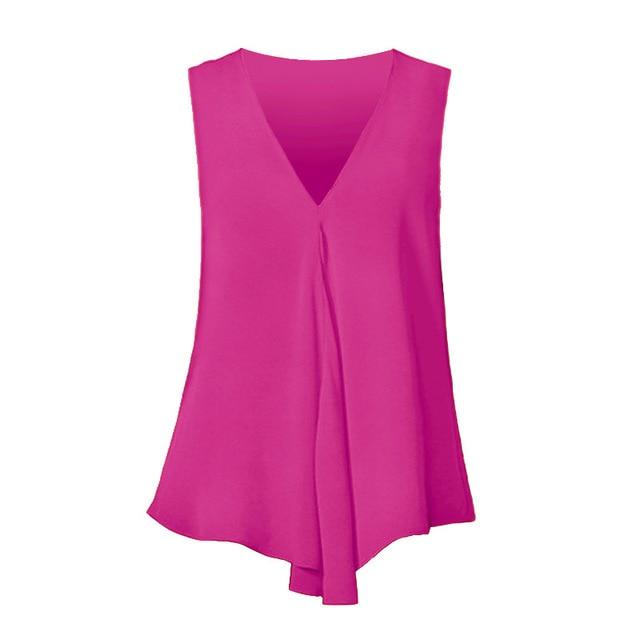 Fashion Women Chiffon Blouses Ladies Tops Sleeveless V Neck Shirt Blusas Femininas Plus Size S-6XL Female Solid Color Clothing 3