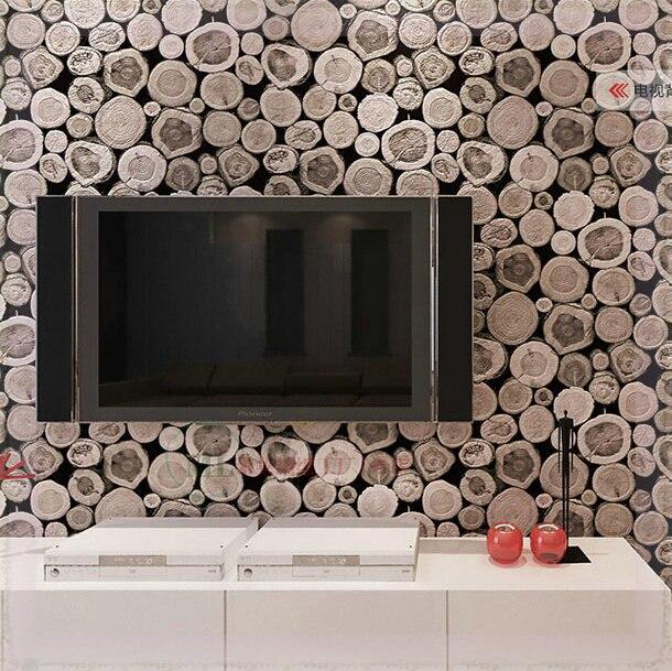 Bois mur papier peint motif bouleau bois intissé rouleau design ...