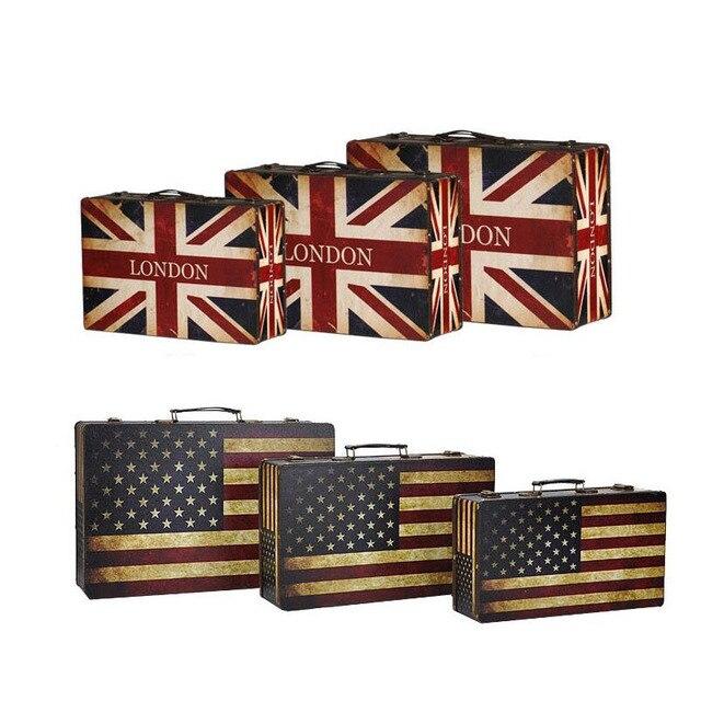 England America Flag Style Vintage Suitcase Storage Box Old