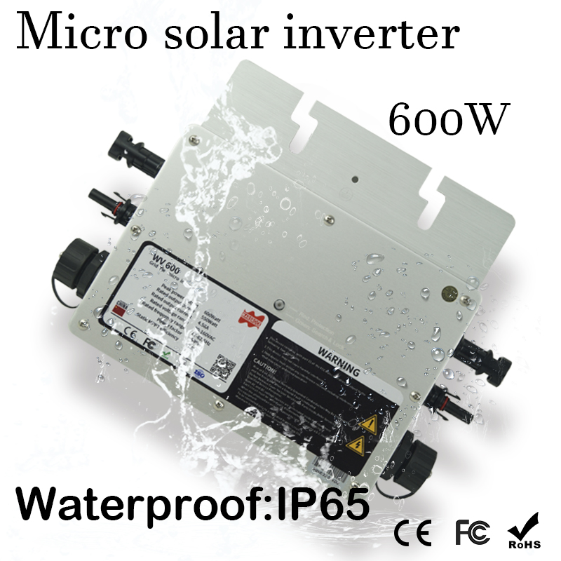 Waterproof 600W Micro Solar Grid Tie Inverter DC 22-50V Wide Input to 80-160VAC or 180-260VAC, 50hz/60hz Auto MatchWaterproof 600W Micro Solar Grid Tie Inverter DC 22-50V Wide Input to 80-160VAC or 180-260VAC, 50hz/60hz Auto Match