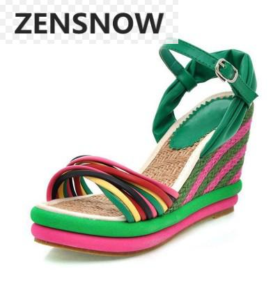 Elegant Womens Sandals 2018 New National Style, Thick Color Bottom Slope And Sandals, High Heel Waterproof Table Sandals.