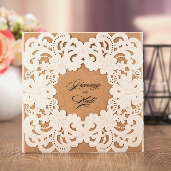 WISHMADE Laser Cut Wedding Invitation Christmas cards 50pcs Rustic