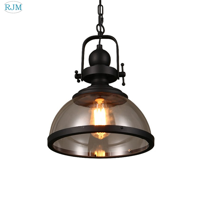 Vintage Robles Glass Pendant Light Single Head Loft Industrial Iron Led Lamp for Dining Room Restaurant Cafe Bar Indoor LightingVintage Robles Glass Pendant Light Single Head Loft Industrial Iron Led Lamp for Dining Room Restaurant Cafe Bar Indoor Lighting