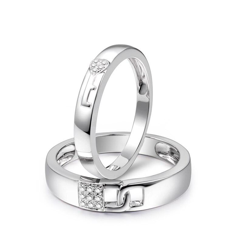Loverjewelry Vendita Calda Coppie Fedi Nuziali Anelli Serratura E Chiave di Amore Solido 18K Oro Bianco di Fidanzamento Con Diamante Anello di Anniversario - 2