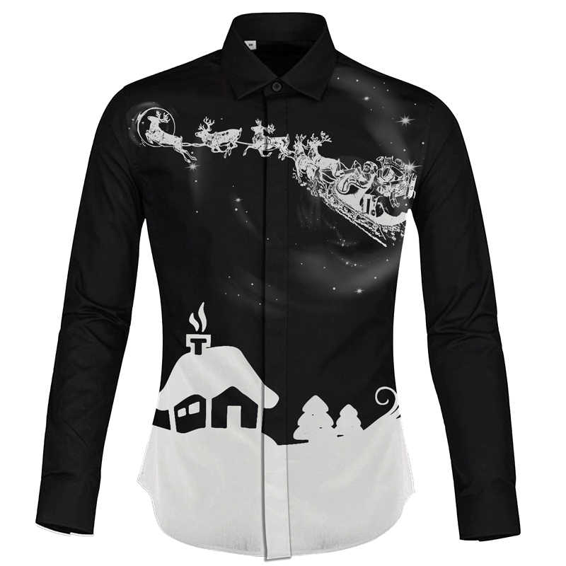 e40eeaca174 Cloudstyle 2018 Autumn Winter Men Shirt Casual Style camisa social  masculina Christmas Print Shirt Chemise Homme