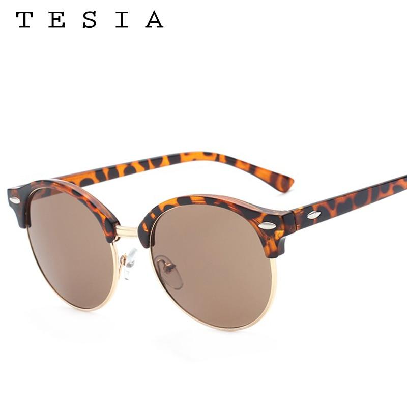 TESIA Club Runde Sonnenbrille Frauen Männer Nieten Halbrahmen Marke - Bekleidungszubehör - Foto 4
