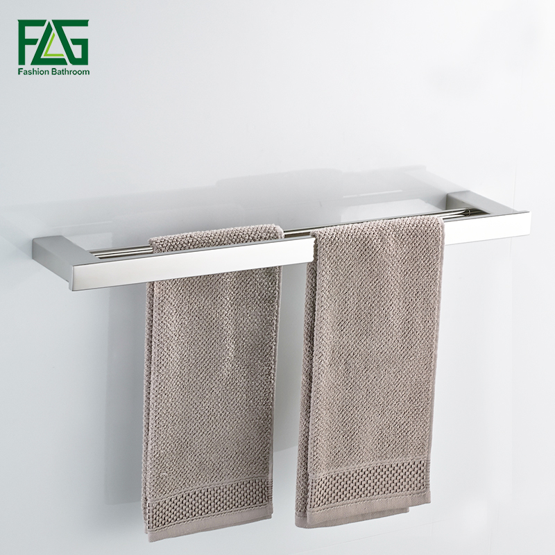 FLG Wall Mounted Mirror Polished Double Towel Bars,Towel Holder,Towel Rack,Bathroom Accessories Stainless Steel Pole G120-02N viborg deluxe sus304 stainless steel foldable wall mounted bathroom towel rack shelf towel holder storage