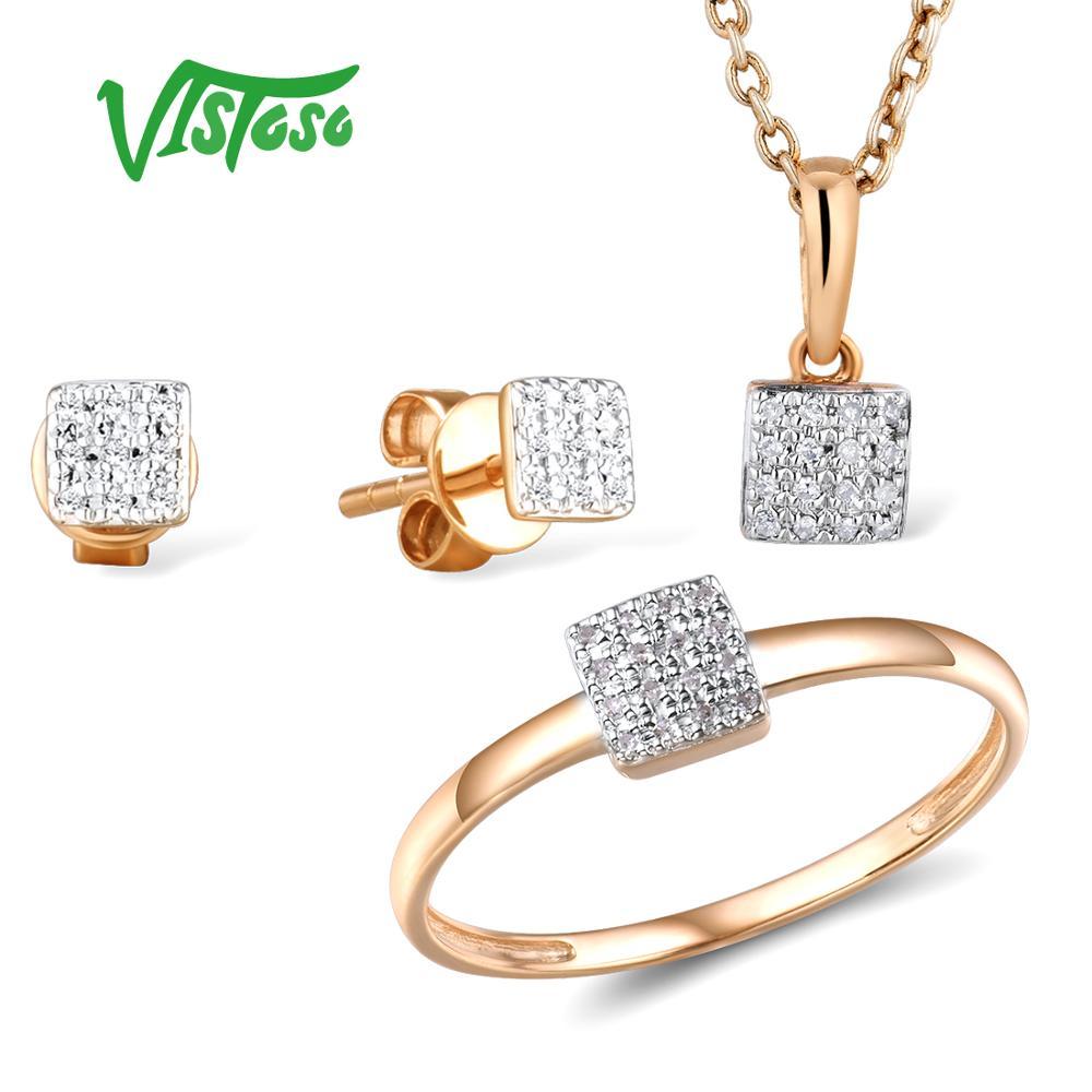 VISTOSO Jewelry Set For Woman Pure 14K 585 Rose Gold Sparkling Diamond Square Earrings Ring Pendant Set Fashion Fine Jewelry