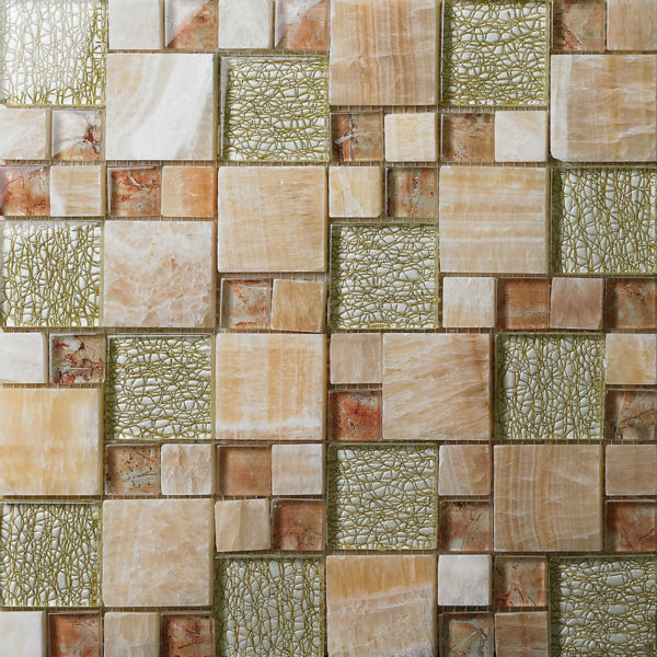 Crystal Glass Tile Backsplash Kitchen Grey Glass Stone Blend