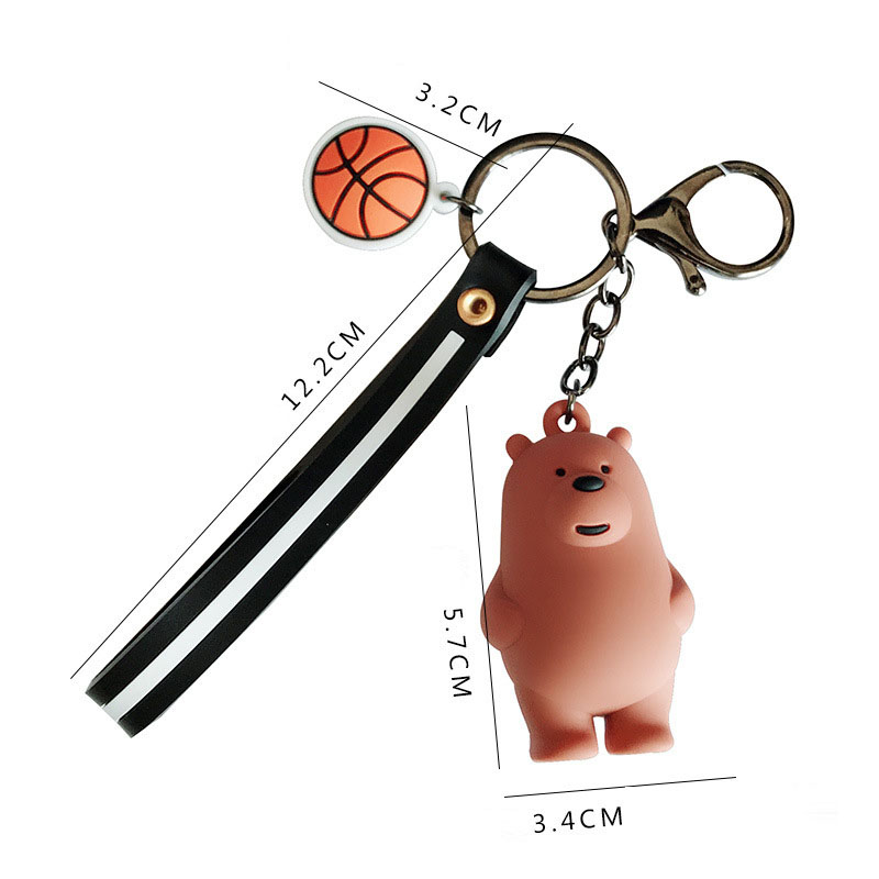 Image 2 - We Bare Bears Keychain Cartoon Anime Pendants Key chains For Women Kids Unlucky bear Series Trinkets For Car Key Car ornaments-in Key Rings from Automobiles & Motorcycles