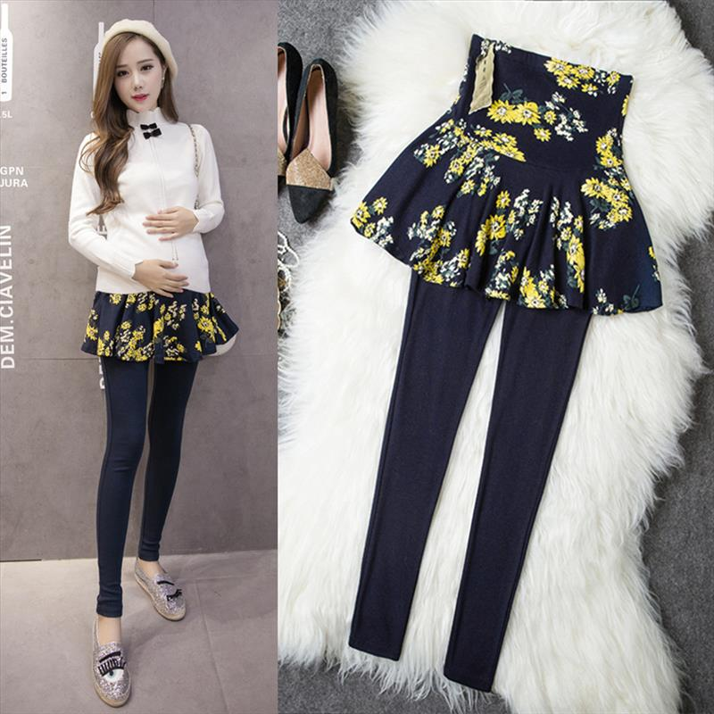 2018 Autumn fashion cultivate ones morality pregnant women leggings culottes false two-piece outfit Pregnant belly trousers