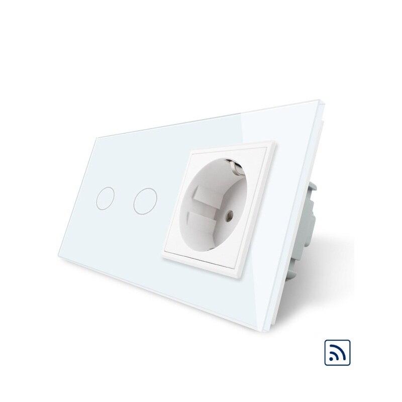 2017 nouveau commutateur à distance, prise de courant murale standard 16A EU, panneau en verre cristal blanc, interrupteur tactile avec prise murale