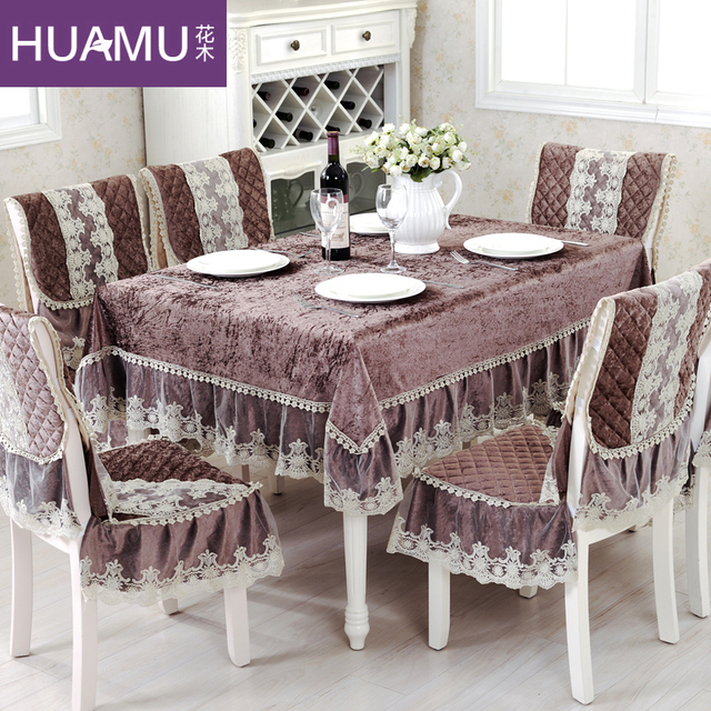 Grade Fashion Top Gold Velvet Dining Table Cloth Chair Covers Cushion Cover Rustic Lace