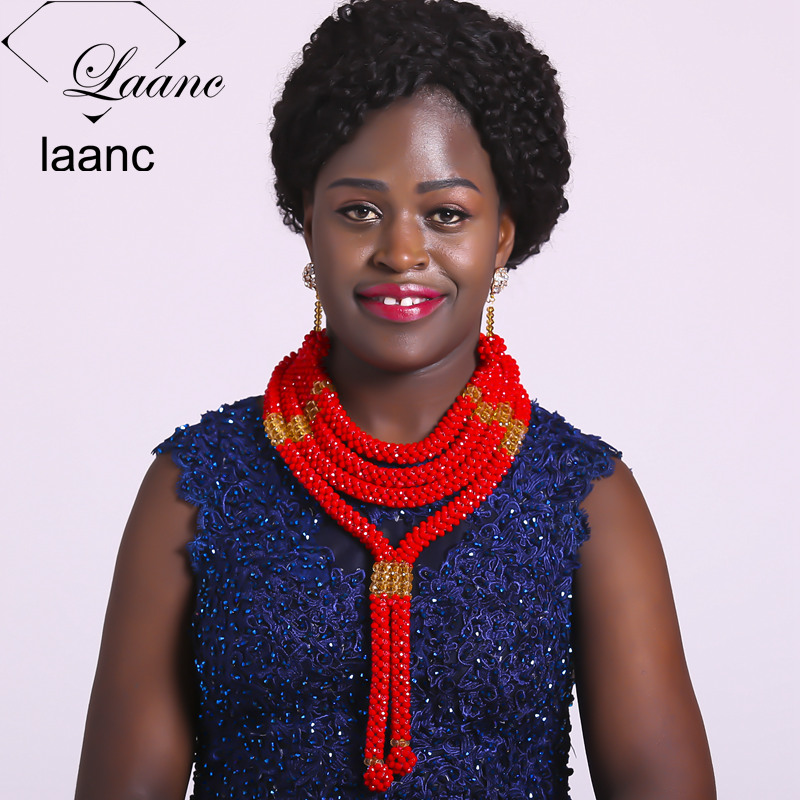 Laanc Opaque Red Nigerian Wedding African Beads Jewelry Set Crystal Necklace Earrings for Women NAL507 aczuv brand opaque red african jewelry set nigerian wedding beads art005
