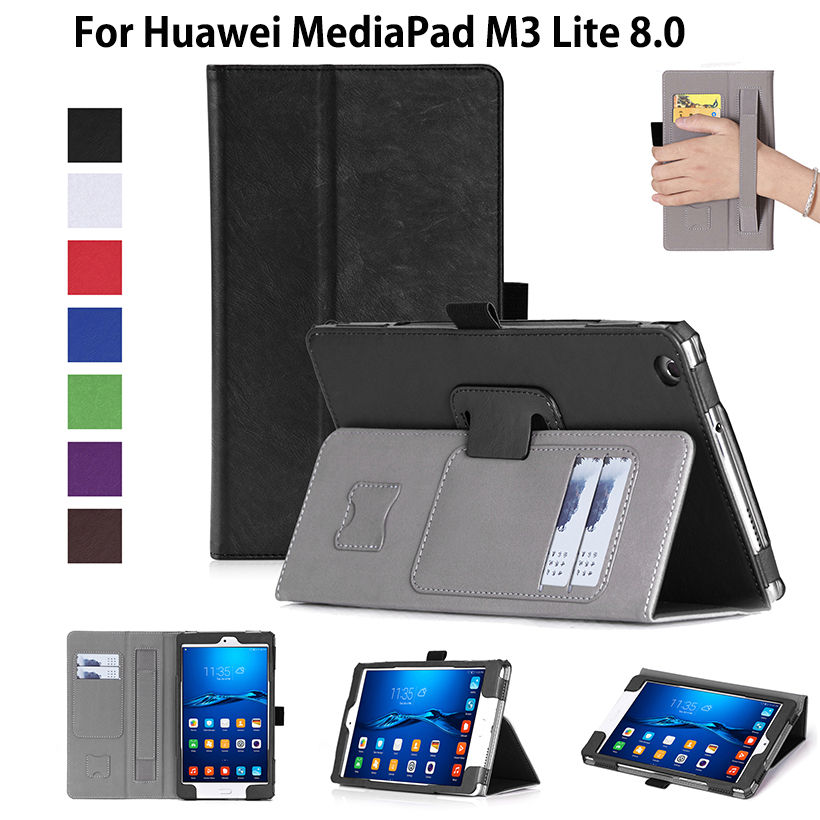 Luxury Case For Huawei Mediapad M3 Lite 8.0 Cover Funda Tablet CPN-L09 CPN-W09 CPN-AL00 8 Cases Hand Holder Flip Stand Shell tempered glass for huawei mediapad m3 lite 8 8 0 cpn l09 w09 cpn al00 transparent screen protective film tablet screen protector