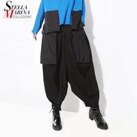2018 Korean Style Women Hippie Black Harem Pants Elastic Waist Ankle Length Female Casual Streetwear Loose Pants Trousers