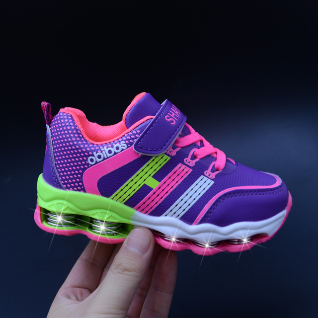 2016 New Autumn High Quality PU Kids Sneakers Springs Shocks Girls Boys Running Shoes Basketball Boots Children Sport Shoes
