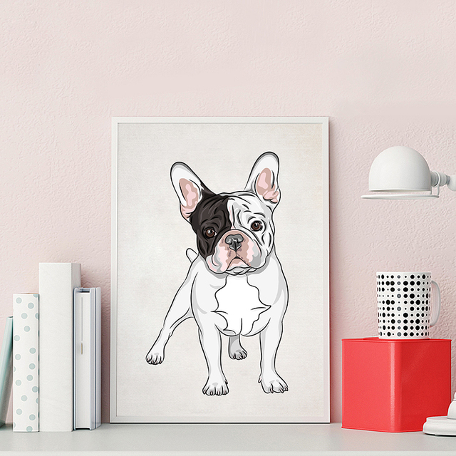 Nordic Cartoon French Bulldog Wall Art Print Poster Hand Painted