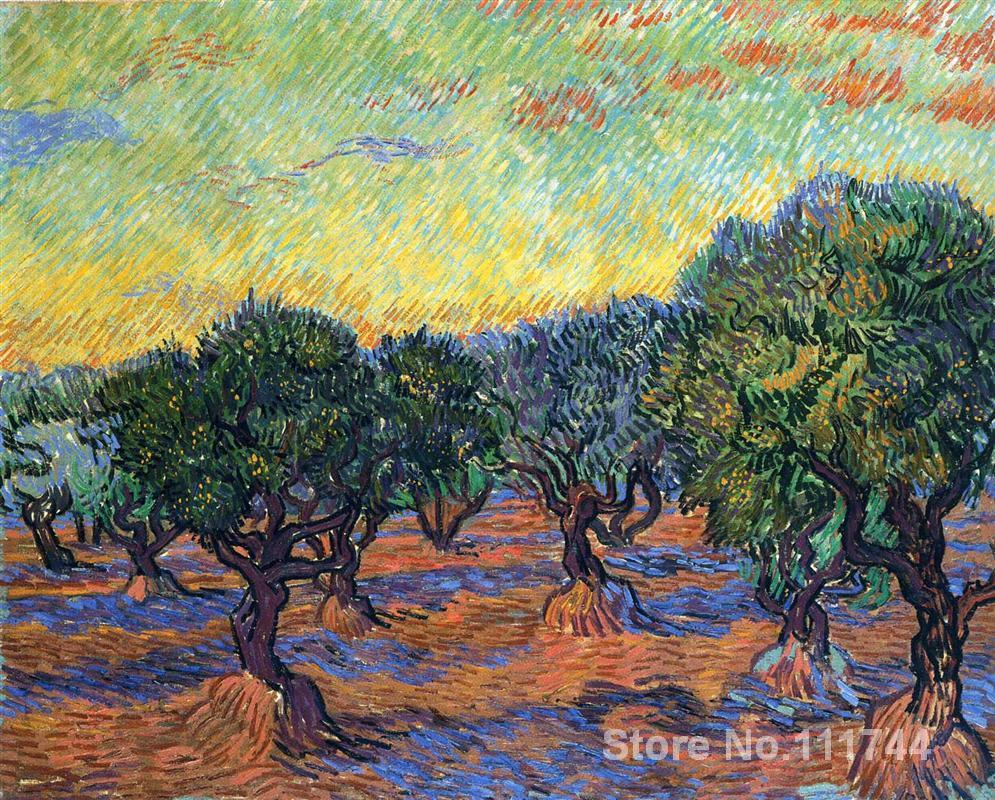 Art pour salon mur oliveraie Orange ciel de Vincent Van Gogh peintures de haute qualité peintes à la main