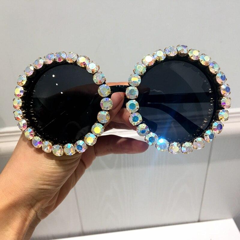 HTB15nf4kBHH8KJjy0Fbq6AqlpXaU - Women Sunglasses 2018 Round Vintage AB Rhinestone Sunglasses Luxury Shades Female Funky Sun glasses Oculos De Sol