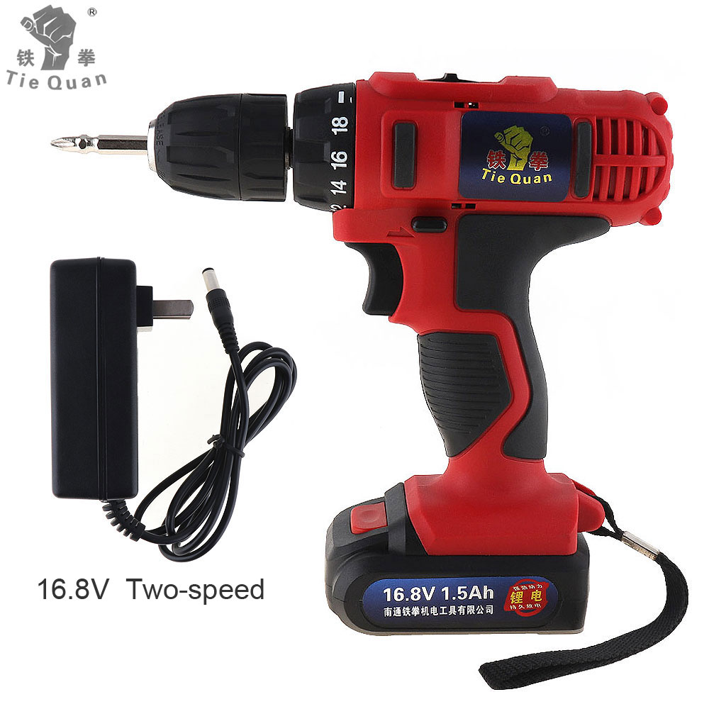 AC 100 - 240V Cordless 16.8V Electric Drill / Screwdriver with 18 Gear Torque and Two-speed Adjustment Button cordless 12v electric drill screwdriver two speed screw driver power tools with 18 gear torque for handling screws drilling