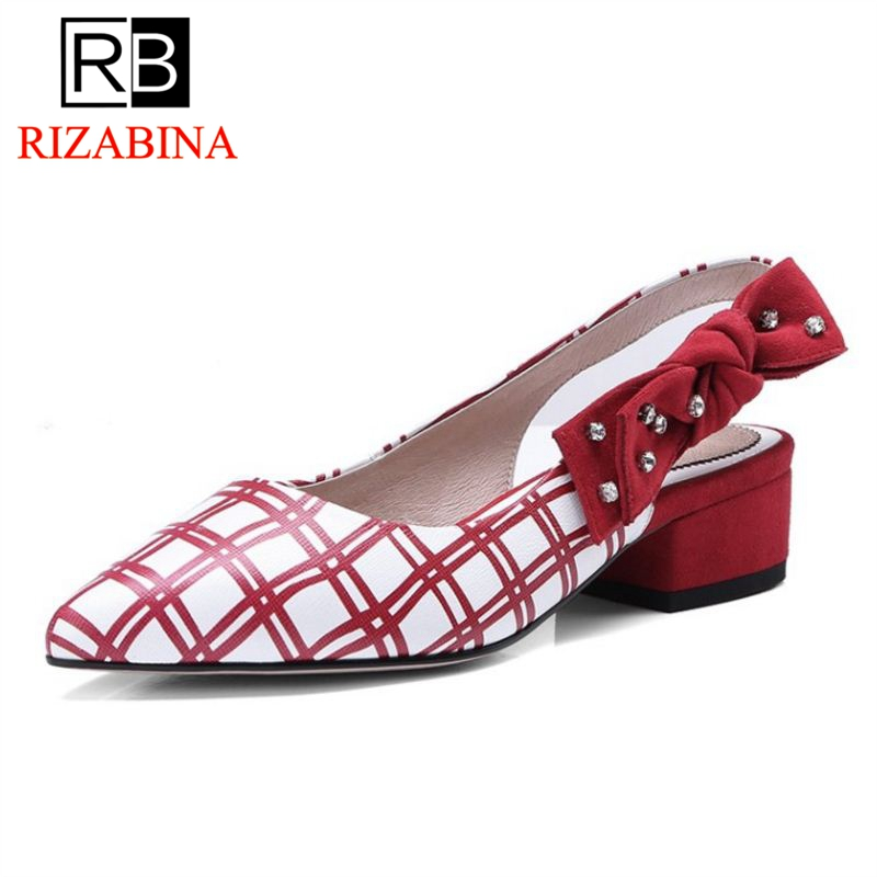 RIZABINA Vintage Office Ladies Real Leather High Heel Shoes Woman Bowtie Plaid Thick Heel Pumps Daily Party Shoes Size 34-39