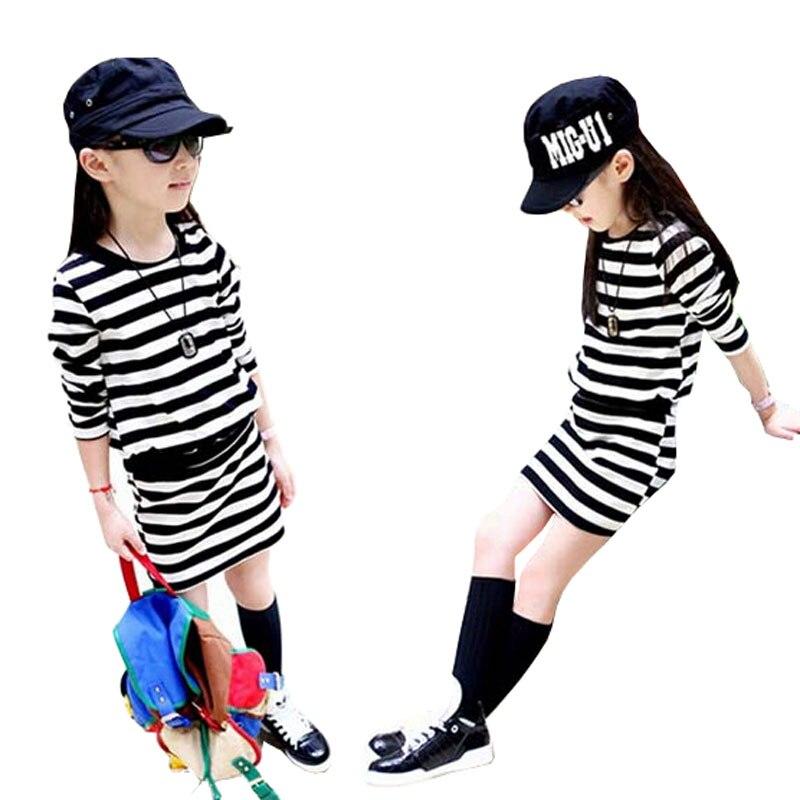 Девушка Платья Весна 2017 С Длинным Рукавом Черный и Белые Полосы Девушки Хлопок Платье Подросток Платье vestidos Infantis Одежда