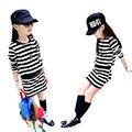 Primavera Vestido de la muchacha 2017 Vestido de Algodón de Manga Larga Negro y Rayas Blancas Niñas Adolescente Vestido vestidos Infantis Ropa