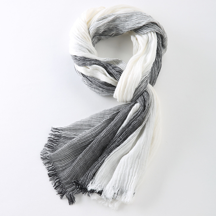 75*205cm 2019 Wholesale Brand Winter Scarf Men Warm Soft Tassel Bufandas Cachecol Gray Plaid Woven Wrinkled Cotton Men Scarves