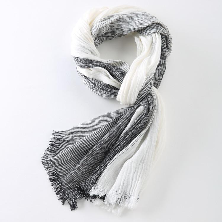 75*205cm 2019 Wholesale Brand Winter Scarf Men Warm Soft Tassel Bufandas Cachecol Gray Plaid Woven Wrinkled Cotton Men Scarves