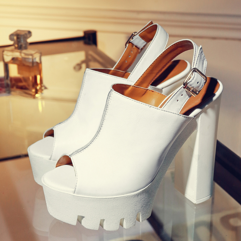European casual style peep toe leather cowhide summer sandals waterproof belt buckle with so kate high heel thick womens shoesEuropean casual style peep toe leather cowhide summer sandals waterproof belt buckle with so kate high heel thick womens shoes