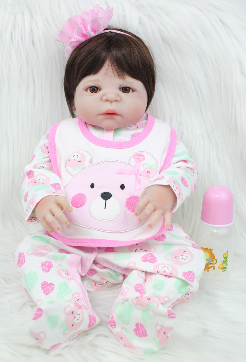 55cm Full Silicone Body Reborn Girl Baby Doll Toys 22inch Newborn Princess Toddler Babies Doll Birthday Gift Child Shower Bathe hot 57cm full body silicone reborn sweet girl baby doll toys newborn princess toddler babies doll birthday gift child bathe toy