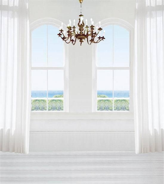 8x12FT Indoor Room Glass Window Candles Curtain Sea