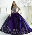 2016 Barato Roxo Quinceanera Vestidos Tafetá Com Contas vestido de Baile Quinceanera Vestido Vestidos Vestido 15 Anos Sweet 16 Vestidos