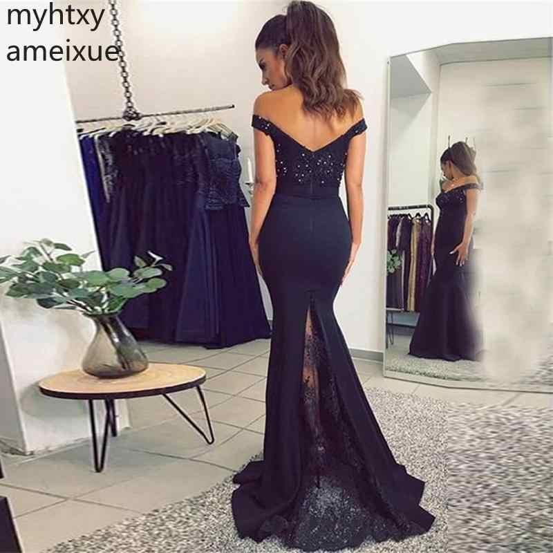2019 אלגנטי כבוי כתף תחרה בת ים שיק מותאם אישית ערב שמלות אפליקציות שחורות ואגלי ארוך פורמליות שמלת חלוק דה Soiree