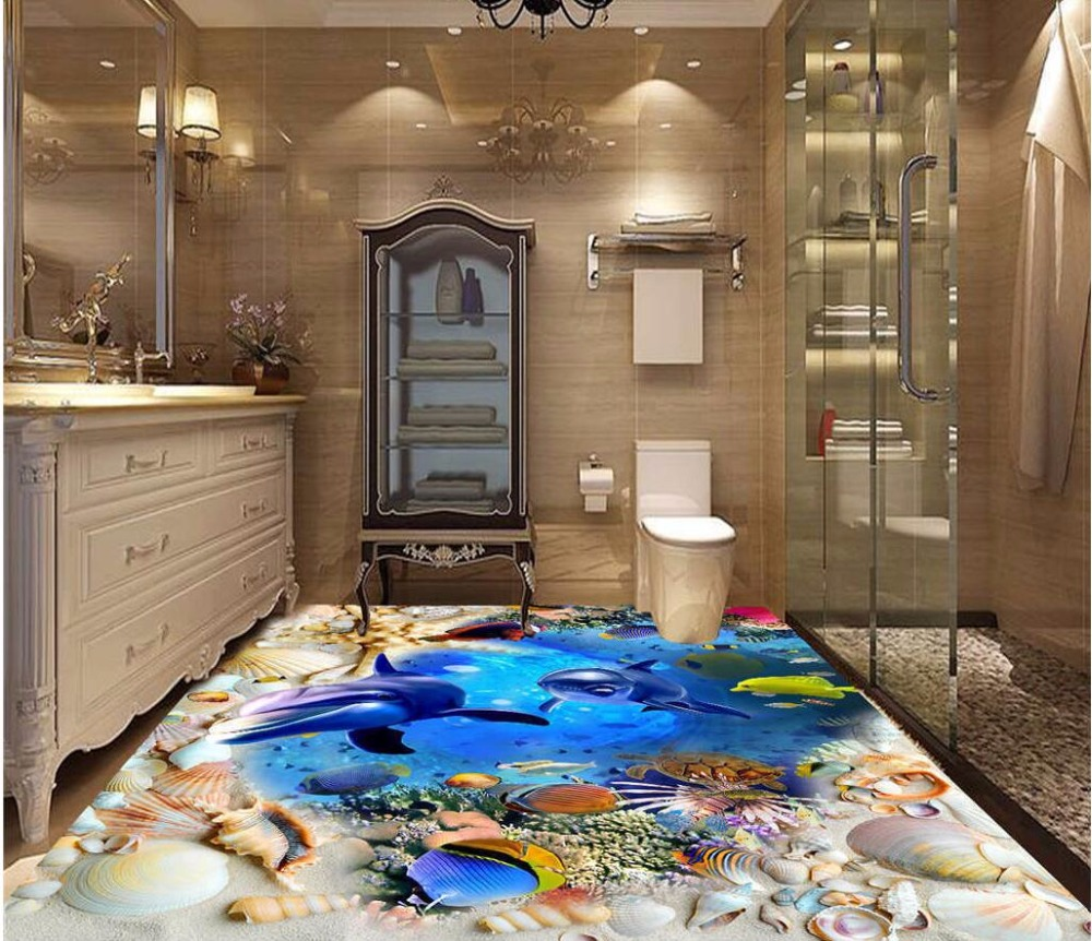 Custom photo 3d pvc flooring self adhesion wall paper sticker Dolphins and sharks shell bedroom painting wallpaper for walls 3 d