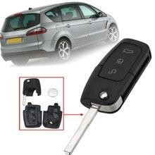 3 Bottoni Chiave A Distanza Fob Caso di Borsette Con Batteria Per Ford/Focus/Mondeo/Galaxy/Kuga/ c-Max/S-Max 2003 2004 2005 2006 2007 2008