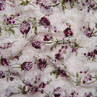 1 미터 새로운 프랑스어 궁전 스트레치 레이스 원단 장미 꽃 인쇄