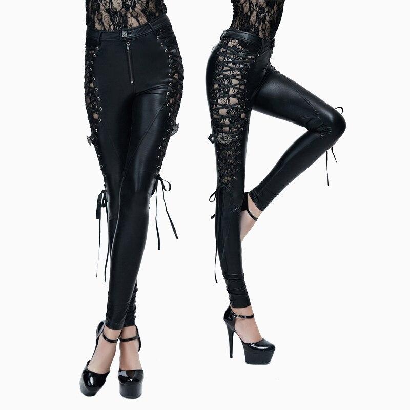Diable mode Punk côtés lier PU cuir pantalon pour les femmes gothique Sexy dentelle évider pantalons extensibles noir Slim pantalon