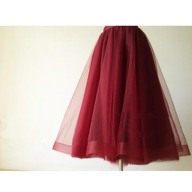 5fb1a6549 Faldas Mujer Borgonha Comprimento de Chá de Tule Saias de Organza Com Borda  de Cetim Cós