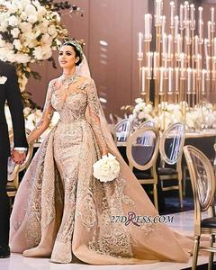 Image 4 - Robe De Mariee Luxury Long Sleeves Mermaid Lace Wedding Dresses High Neck Wedding Gowns with Over Skirt