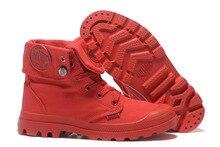 Baskets en PALLADIUM Pallabrouse tout rouge pour hommes, bottines militaires haut de gamme, en toile, chaussures décontractées, taille 39 45