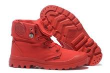 PALLADIUM Pallabrouse wszystkie czerwone trampki mężczyźni za kostkę botki wojskowe płótno obuwie męskie obuwie rozmiar 39 45