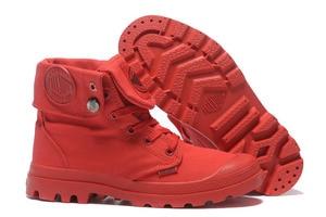 Image 1 - البلاديوم pallabrouse جميع الأحمر رياضة الرجال عالية أعلى الأحذية القماشية عارضة أحذية الكاحل العسكرية الرجال الاحذية حجم 39 45