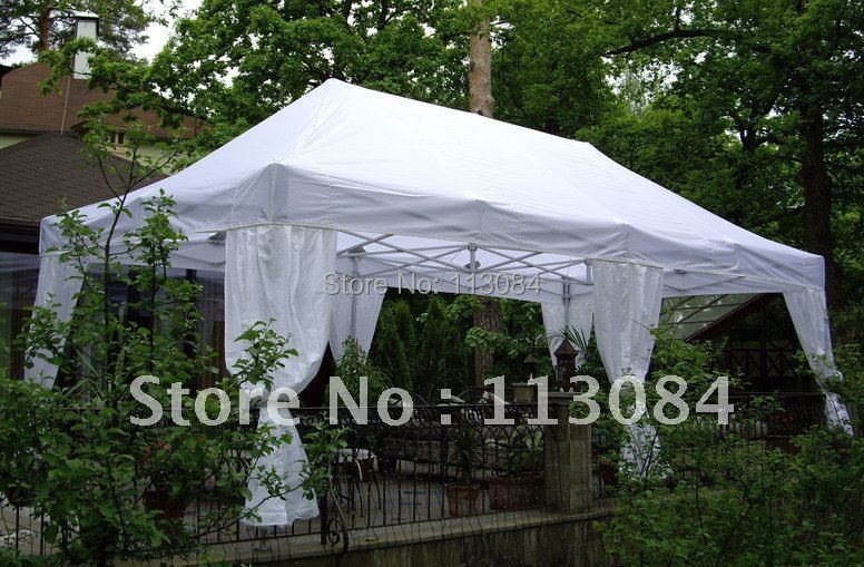 Garden Gazebo Heavy Duty Pavilion Tent Wedding Party Marquee with Curtain 7 Size